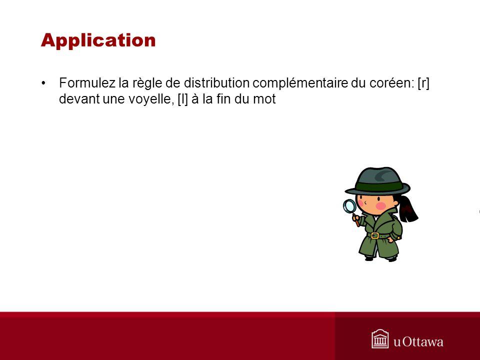 Application Formulez la règle de distribution complémentaire du coréen: [r] devant une voyelle, [l] à la fin du mot.
